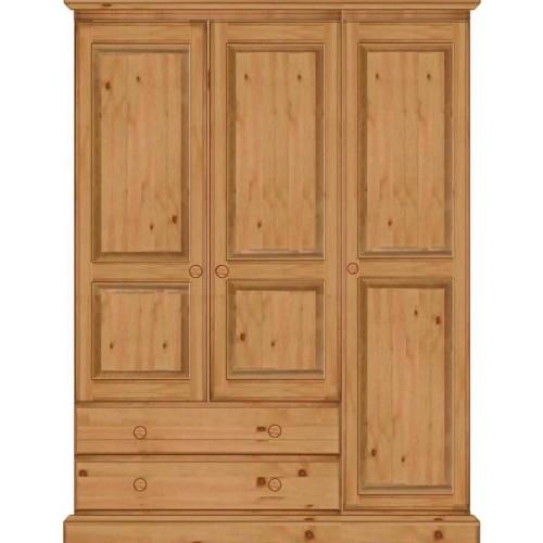 Гардероб чам с 3 врати и 2 чекмеджета - КОНАС ООД  - производство на  мебели от масив, дървен материал и дървен материал за строителството