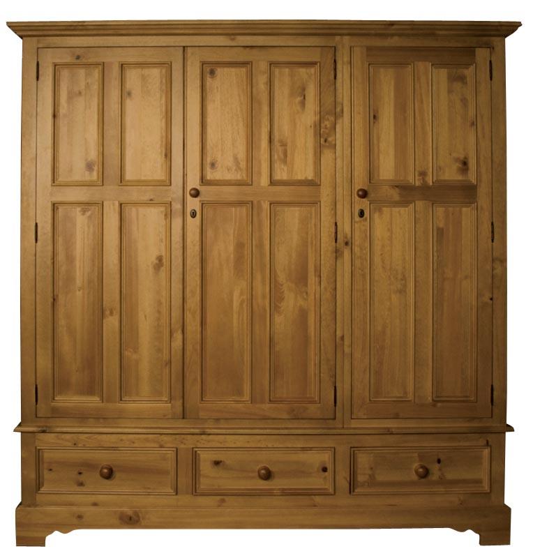 Трикрилен гардероб с три чекмиджета - КОНАС ООД  - производство на  мебели от масив, дървен материал и дървен материал за строителството