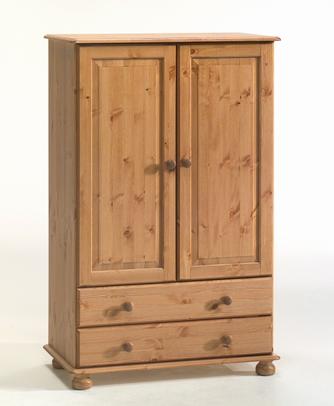 Двукрилен гардероб чам с две чекмеджета - КОНАС ООД  - производство на  мебели от масив, дървен материал и дървен материал за строителството