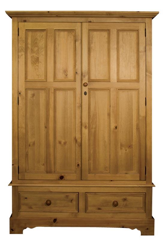 Двукрилен гардероб с две чекмеджета - КОНАС ООД  - производство на  мебели от масив, дървен материал и дървен материал за строителството